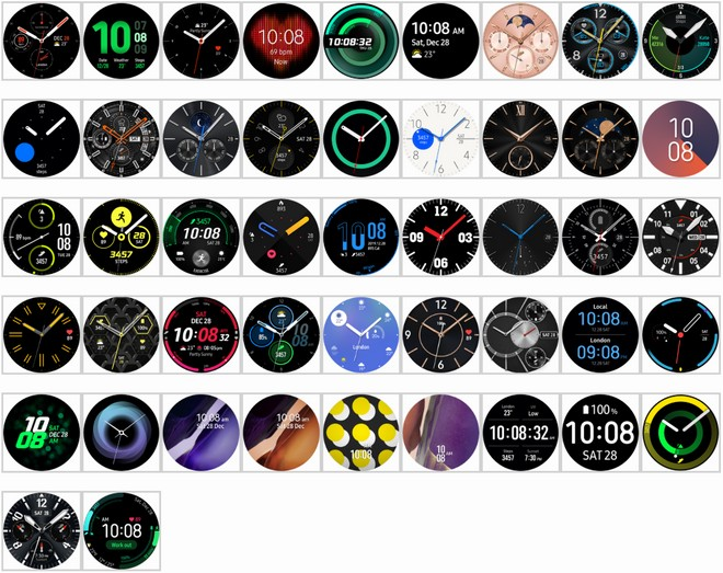 Le future watch face presenti a bordo (Image Source: XDA developers)