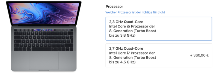 Apple offre due CPU per il nuovo MacBook Pro 2018 (fonte: Apple).