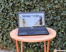 Asus VivoBook X751BP outside in the shade