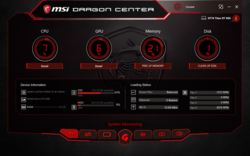 Interfaccia utente MSI Dragon Center.