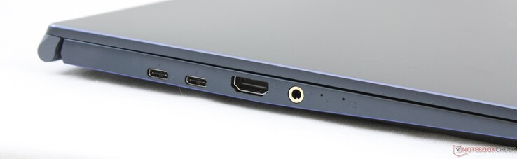 A sinistra: 2x USB Type-C + Thunderbolt 3, HDMI 1.4, 3.5 mm combo audio