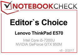 Editors' Choice Award ad Aprile 2017 per il ThinkPad E570