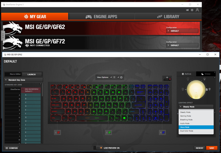 The SteelSeries Engine 3 application allows for key rebindings and different lighting effects across the RGB keyboard.