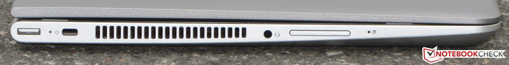 left: power button, lock, audio combo port, volume rocker