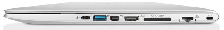 Right: USB Type-C with Thunderbolt 3, USB 3.1 Type-A Gen1, MiniDisplayPort 1.3, HDMI 1.4b with HDCP (max. 2560X1600@60Hz; 3840x2160@30Hz), card reader, Gigabit-LAN port, Kensington lock