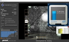 Informazioni sulla CPU durante un Cinebench R15 multi-core benchmark Cinebench R15