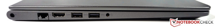 left side: power-in, LAN, HDMI, 1x USB 3.0 with PowerShare, 1x USB 3.0, audio combo
