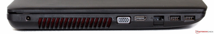 Left side: Power, fan exhaust, VGA, HDMI, Ethernet, 2x USB 3.0
