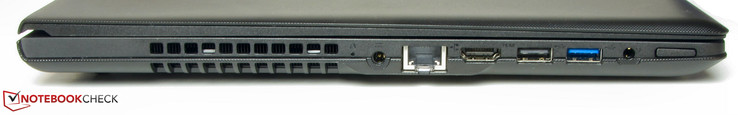 Left: Power-in, Ethernet port, HDMI, USB 2.0, USB 3.0, combo audio, power button