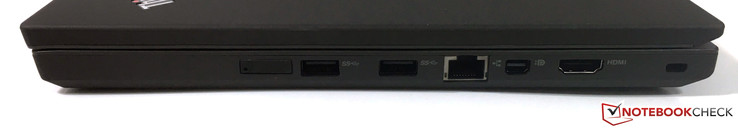right: SIM-slot, 2x USB 3.0, Gigabit-Ethernet, Mini-DisplayPort, HDMI, Kensington Lock
