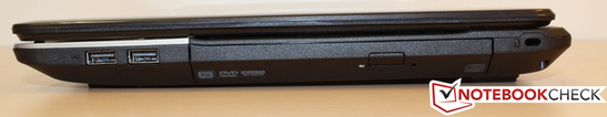 Destra: 2x USB 2.0, DVD drive, Kensington lock