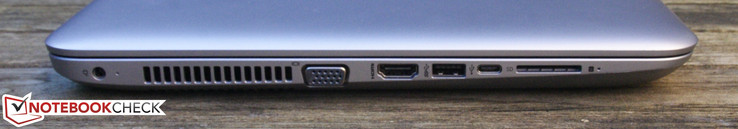Left: Power-in, VGA, HDMI, USB 3.0, USB 3.0 Type C, SD card reader