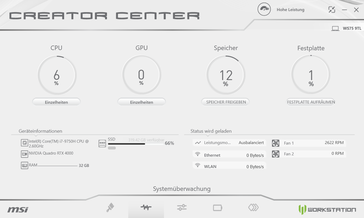 Creator Center system monitor