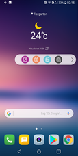 LG V30: home screen con barra fluttuante